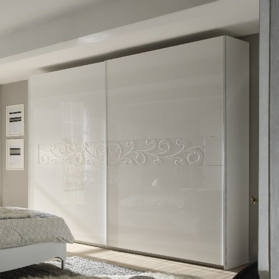 Lisbon 280x240cm Sliding Wardrobe In White And High Gloss Fronts