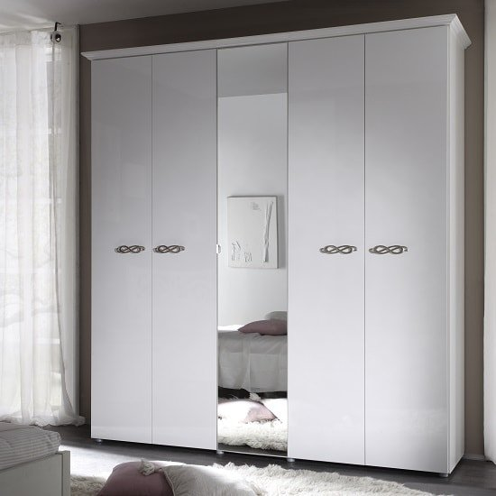 Lisbon Mirrored Wardrobe Large In White With Gloss Fronts