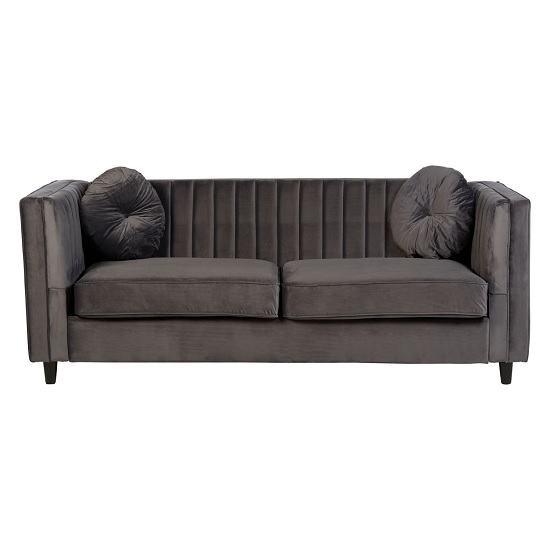 Lismore Contemporary 3 Seater Sofa In Grey Velvet_2