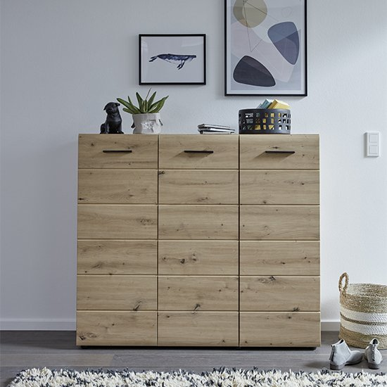 Aquila Large Wooden Shoe Storage Cabinet In Knotty Oak