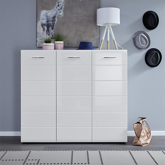 Aquila Large Wooden Shoe Storage Cabinet In White High Gloss