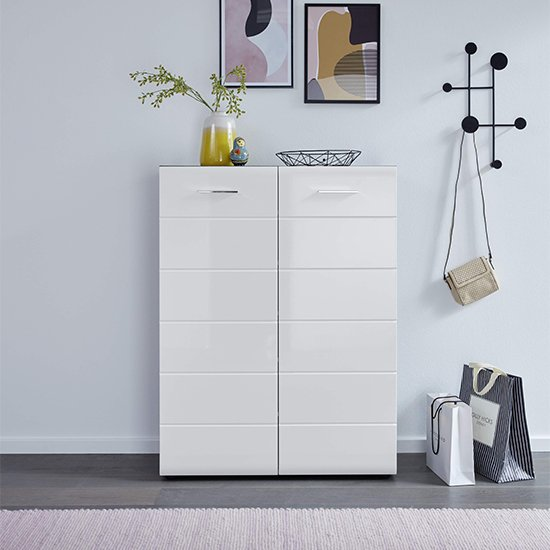 Aquila Shoe Cabinet In White High Gloss And Smoky Silver