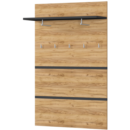 Lissabon Coat Rack Panel In Anthracite And Navarra Oak