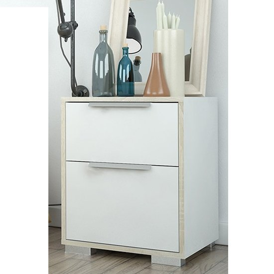 Liston Wooden Bedside Cabinet In White And Oak With 2 Drawers