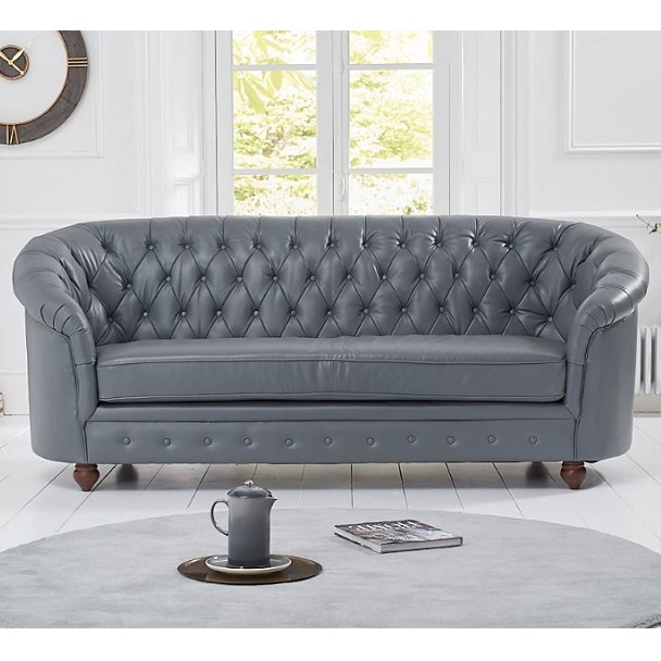 Litzy Three Seater Leather Chesterfield Sofa In Grey