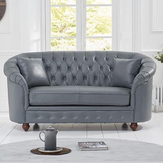 Litzy Two Seater Leather Chesterfield Sofa In Grey
