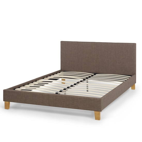 Livenza Contemporary Fabric Bed In Chocolate With Wooden Legs_2