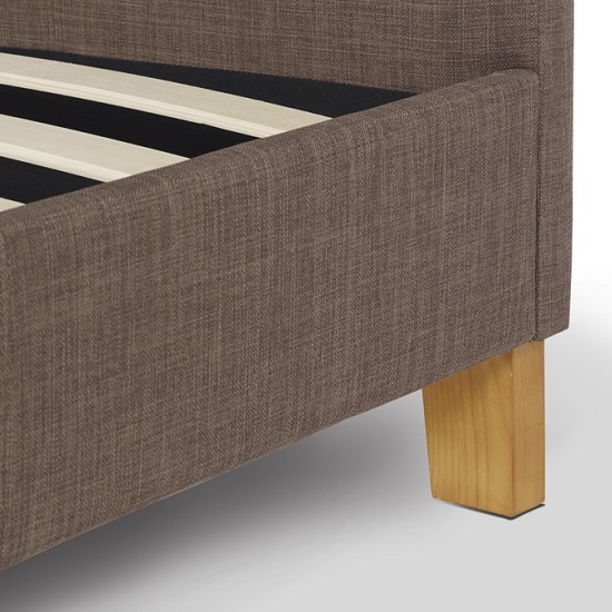 Livenza Contemporary Fabric Bed In Chocolate With Wooden Legs_4