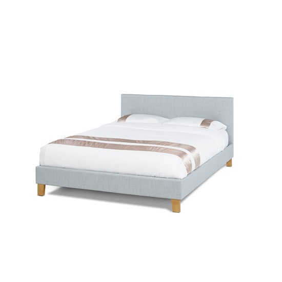 Livenza Contemporary Fabric Bed In Ice With Wooden Legs
