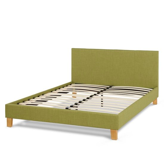 Livenza Contemporary Fabric Bed In Olive With Wooden Legs_2