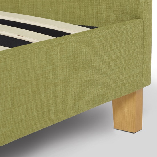 Livenza Contemporary Fabric Bed In Olive With Wooden Legs_4