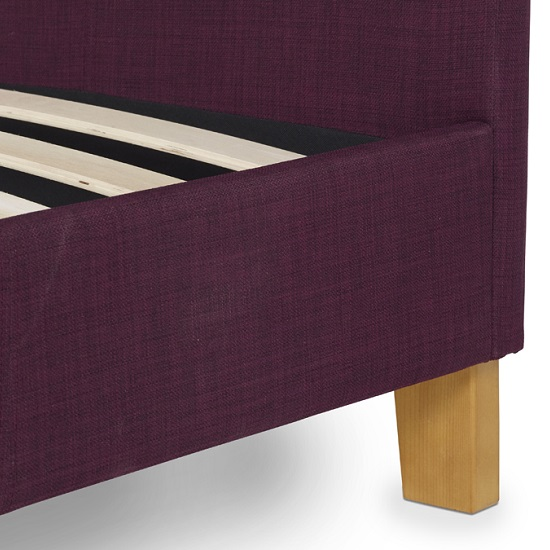 Livenza Contemporary Fabric Bed In Plum With Wooden Legs_3