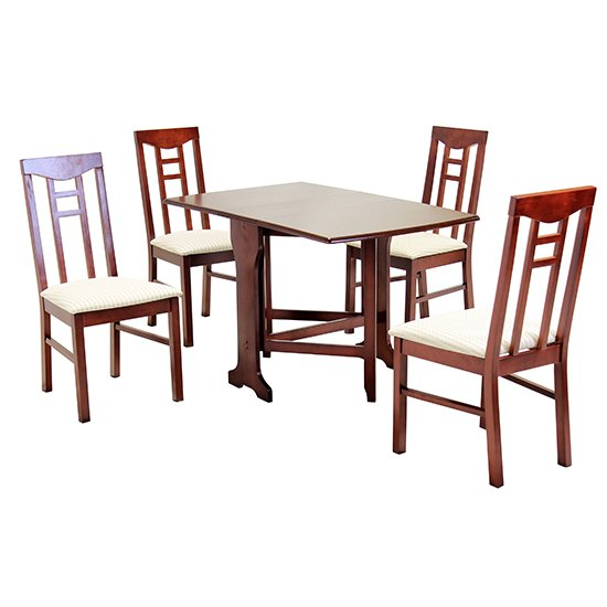 Liverpool Wooden Dining Set In Mahogany With 4 Chairs_1