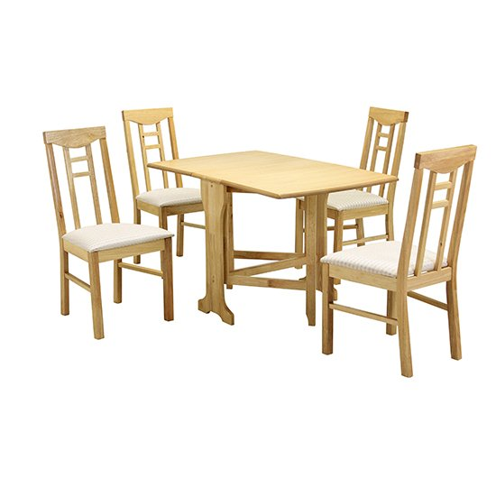 Liverpool Wooden Dining Set In Natural With 4 Chairs