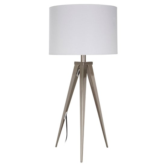 Livica White Fabric Shade Table Lamp With Tripod Base