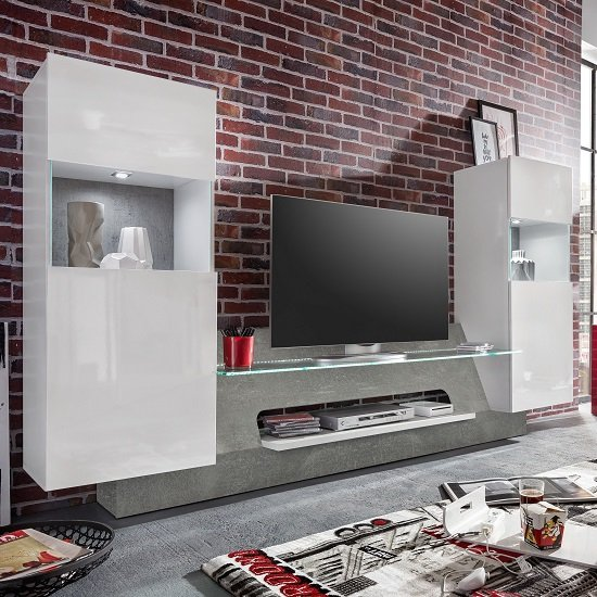 Accent Tv Wall Unit In White Gloss Fronts And Concrete Grey