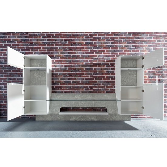 Accent TV Wall Unit In White Gloss Fronts Concrete Grey And LED_3