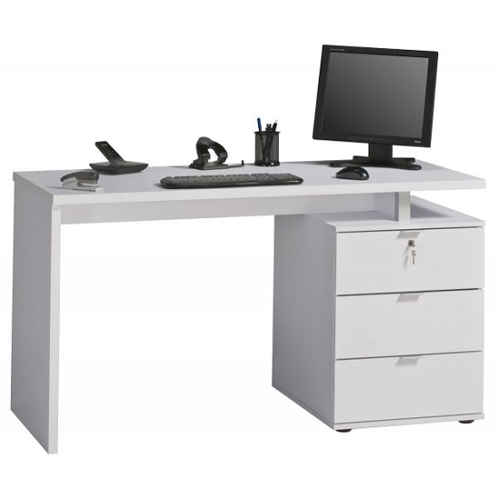Livingno Wooden Computer Desk In White High Gloss