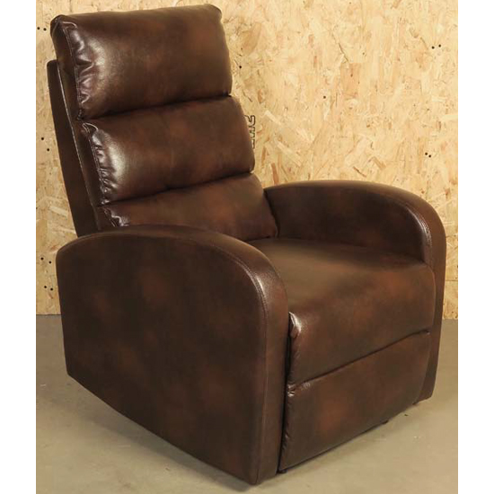 Livorno Faux Leather Recliner Chair In Brown