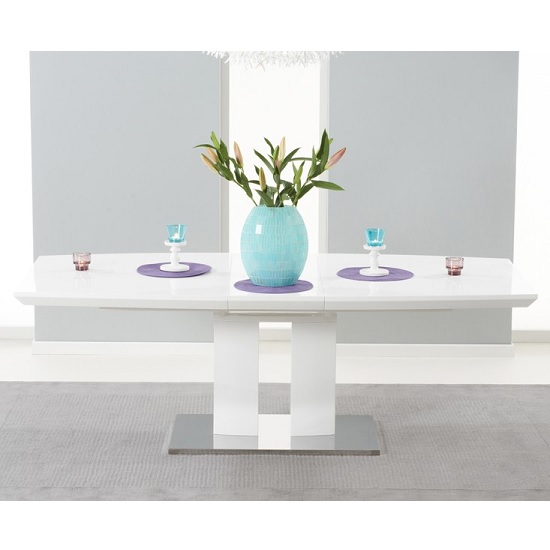Livorno Extendable Dining Table In White Gloss With Chrome Base