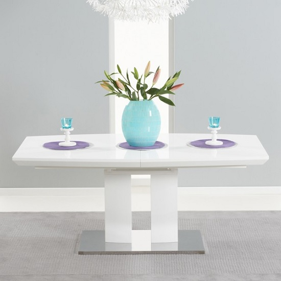 Livorno Extendable Dining Table In White Gloss With Chrome Base_2