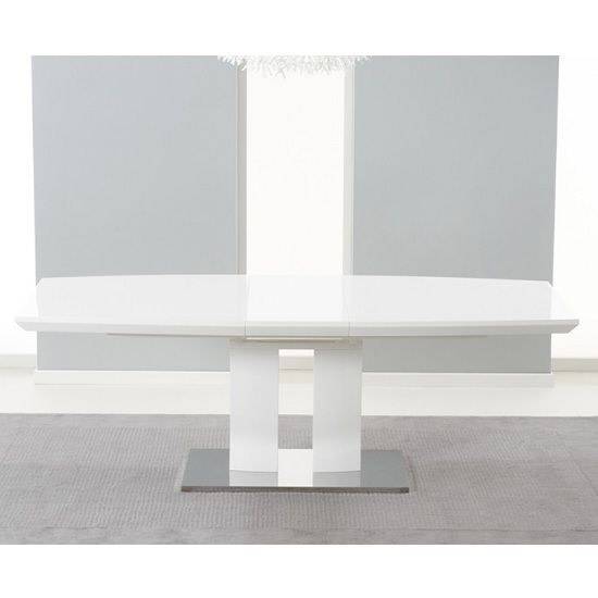 Livorno Extendable Dining Table In White Gloss With Chrome Base_3