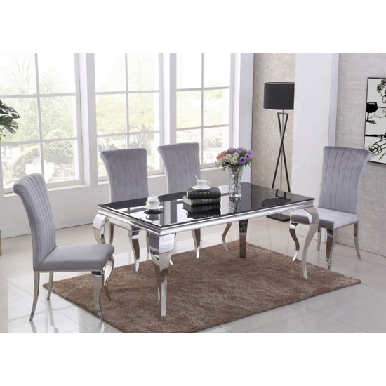 Liyam Black Glass Top Marble Dining Table With 4 Grey Chairs