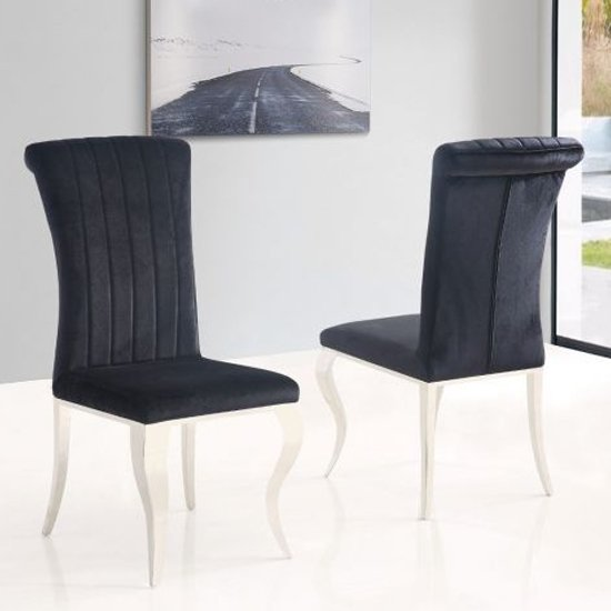 View Liyam black soft velvet upholstered dining chairs in pair