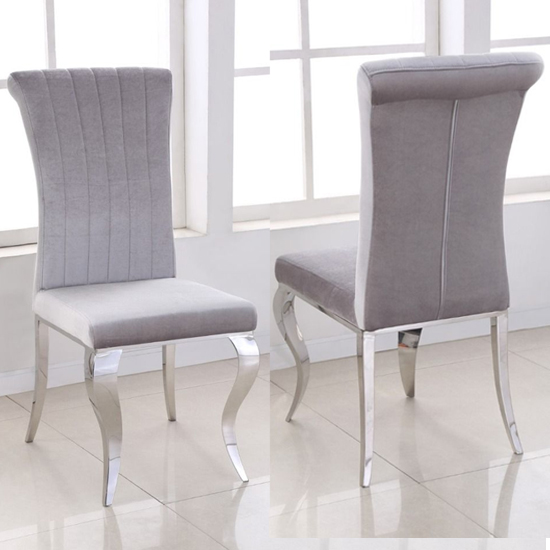 View Liyam grey soft velvet upholstered dining chairs in pair