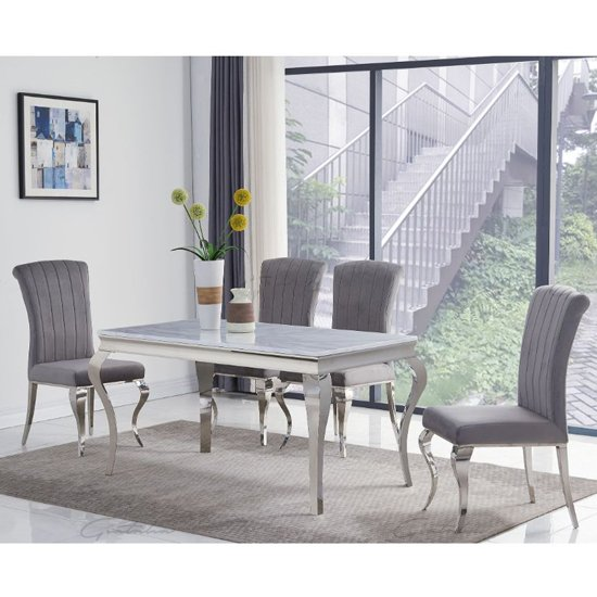 Liyam Small Grey Marble Dining Table With 4 Grey Chairs