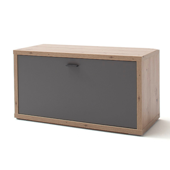 View Lizzano wooden shoe storage bench in oak and royal grey