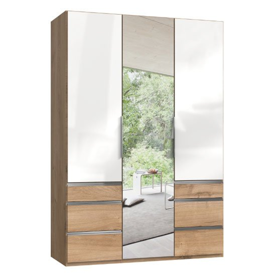 Lloyd Mirrored 3 Doors Wardrobe In Gloss White And Planked Oak