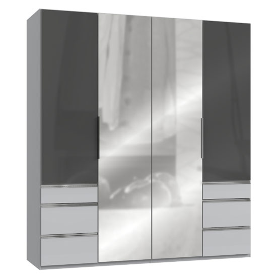 Product photograph showing Lloyd Mirrored 4 Doors Wardrobe In Gloss Grey And Light Grey