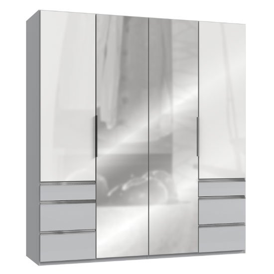 Lloyd Mirrored 4 Doors Wardrobe In Gloss White And Light Grey