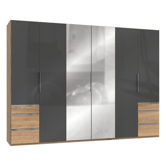 Lloyd Mirrored 6 Doors Wardrobe In Gloss Grey And Planked Oak