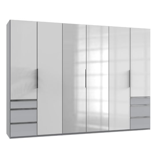 Lloyd Mirrored 6 Doors Wardrobe In Gloss White And Light Grey