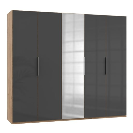 Lloyd Mirrored Wardrobe In Gloss Grey And Planked Oak 5 Doors