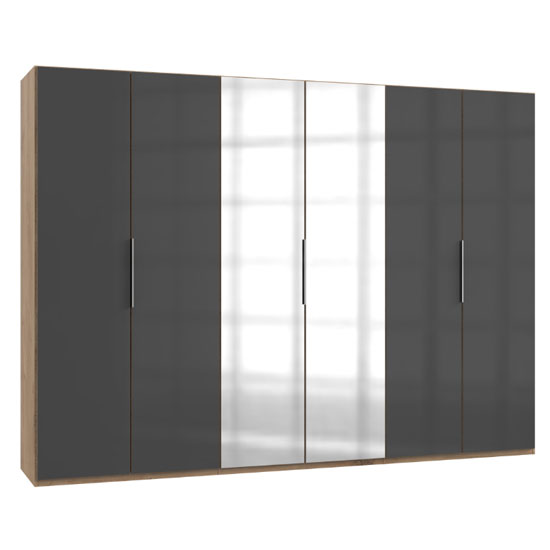 Lloyd Mirrored Wardrobe In Gloss Grey And Planked Oak 6 Doors