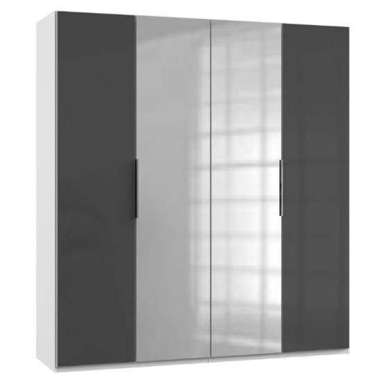 Lloyd Mirrored Wardrobe In Gloss Grey And White 4 Doors
