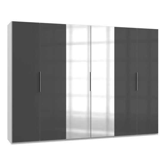 Product photograph showing Lloyd Mirrored Wardrobe In Gloss Grey And White 6 Doors