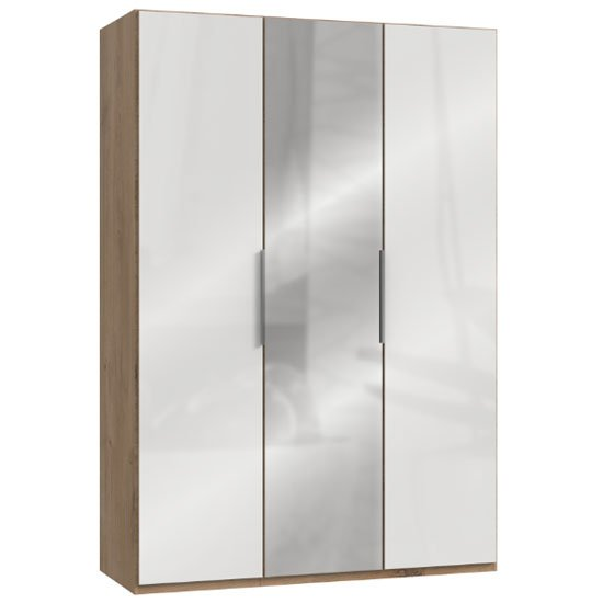 Lloyd Mirrored Wardrobe In Gloss White And Planked Oak 3 Doors