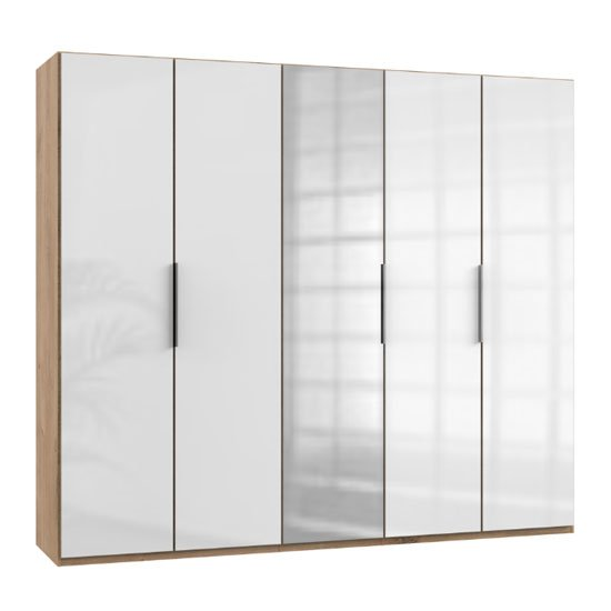 Lloyd Mirrored Wardrobe In Gloss White And Planked Oak 5 Doors