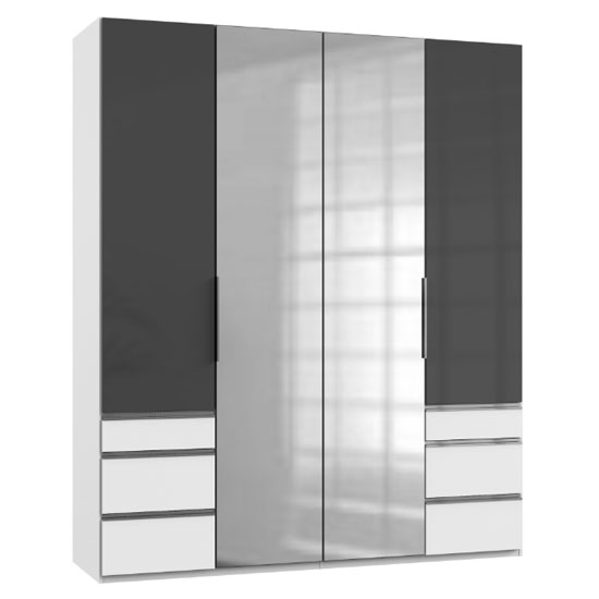 Lloyd Tall 4 Doors Mirrored Wardrobe In Gloss Grey And White