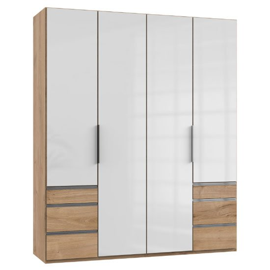 Lloyd Tall 4 Doors Wardrobe In Gloss White And Planked Oak