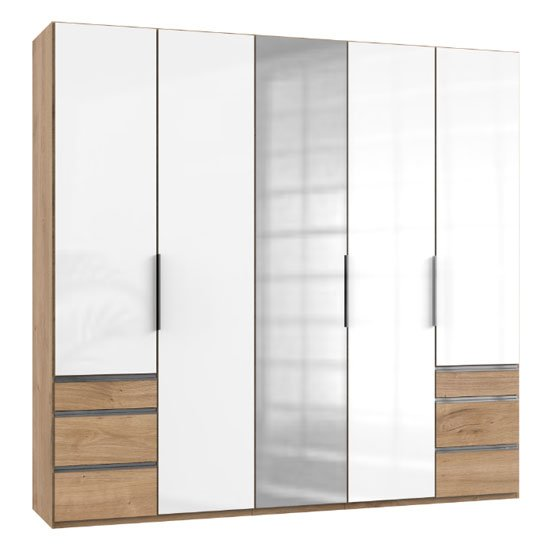 Lloyd Tall 5 Door Mirror Wardrobe In Gloss White And Planked Oak