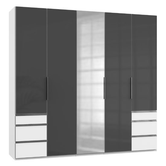 Lloyd Tall 5 Doors Mirrored Wardrobe In Gloss Grey And White