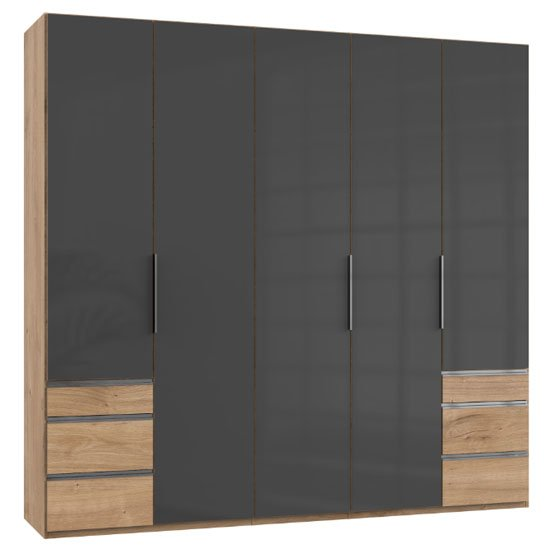Lloyd Tall 5 Doors Wardrobe In Gloss Grey And Planked Oak
