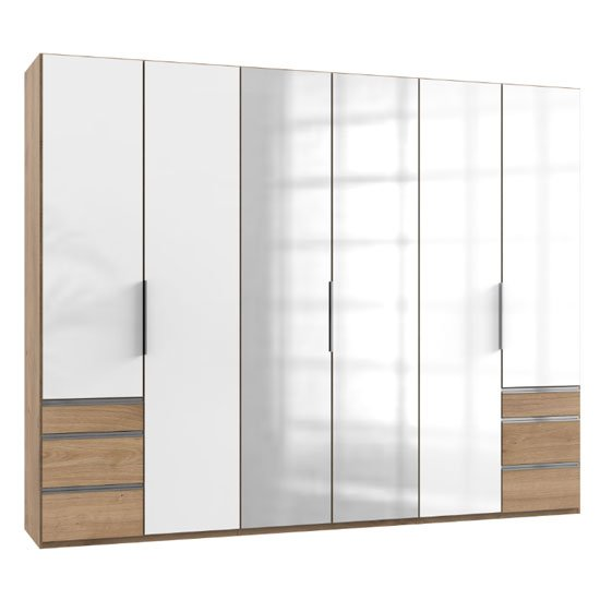 Lloyd Tall 6 Door Mirror Wardrobe In Gloss White And Planked Oak