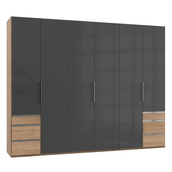 Lloyd Tall 6 Doors Wardrobe In Gloss Grey And Planked Oak