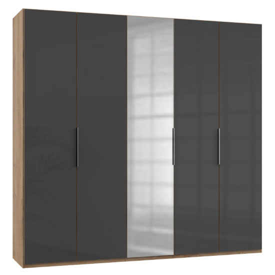 Lloyd Tall Mirror Wardrobe In Gloss Grey And Planked Oak 5 Doors